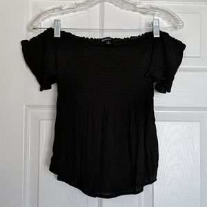 Ambiance Black Smock Off the Shoulder Top S